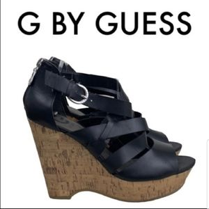 G by Guess Black Tan Wedges Sandals Size 9M